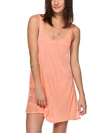 Empyre Mija Coral Crochet Inset Dress