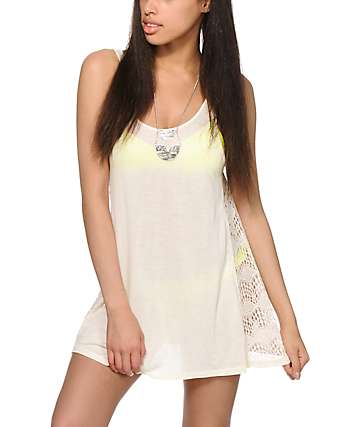 Empyre Mija Cream Crochet Inset Dress