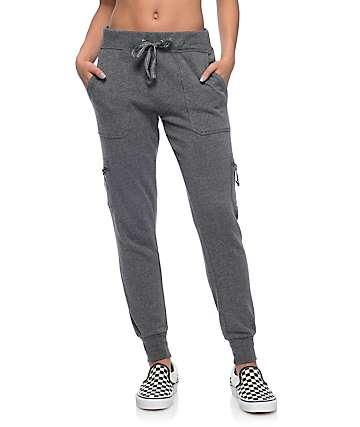 Empyre Milana Charcoal Knit Cargo Jogger Pants