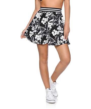 Empyre Missy Black & White Floral Skater Skirt