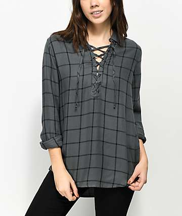 Empyre Montgomery Charcoal Lace Up Shirt