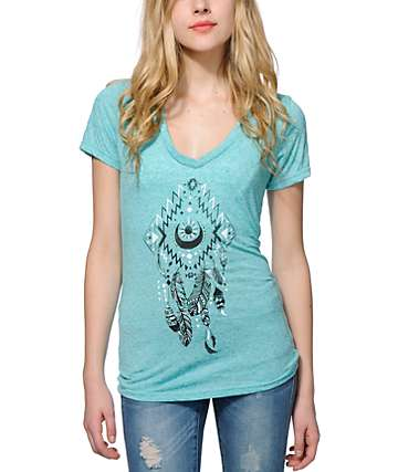Empyre Moon Feather Dreamcatcher V-Neck T-Shirt
