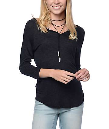 Empyre Morris Black Henley Top