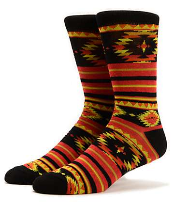Empyre Mountaineer Native Print Black & Orange Crew Socks