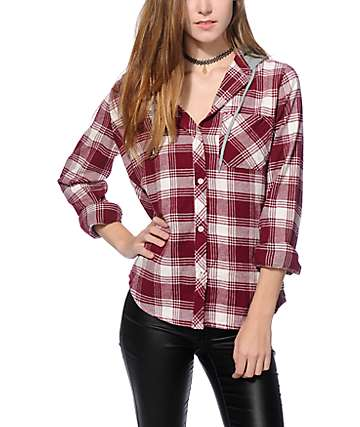 Empyre Moya Blackberry Hooded Flannel Shirt