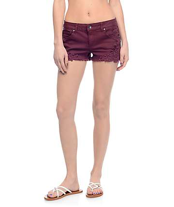 Empyre Natasha Burgundy Crochet Side Shorts