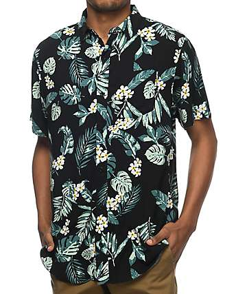Empyre Night Moves Black & Green Tropical Short Sleeve Woven Shirt
