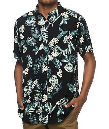 Empyre Night Moves Black & Green Tropical Short Sleeve Woven Shirt