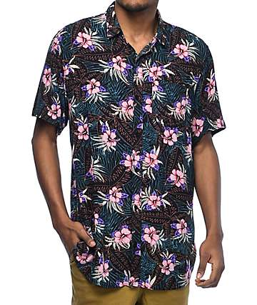 Empyre Night Moves Tropical Black Woven Button Up Shirt