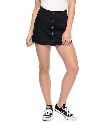 Empyre Nikola Black Button Front Mini Skirt