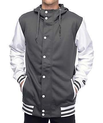 Empyre Offense Grey & White Varsity Tech Fleece Jacket