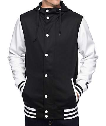 Empyre Offense chaqueta universitaria de vellón en blanco y negro