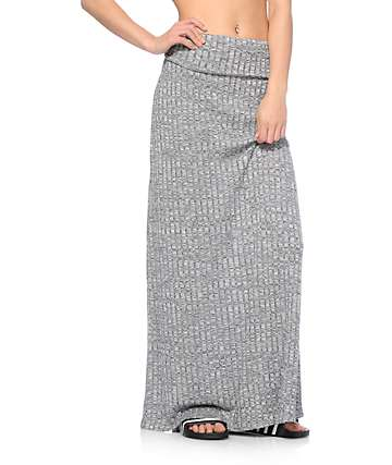 Empyre Opal Charcoal Ribbed Maxi Skirt