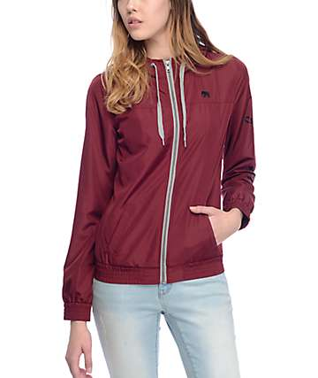 Empyre Oriana Burgundy Lined Windbreaker Jacket