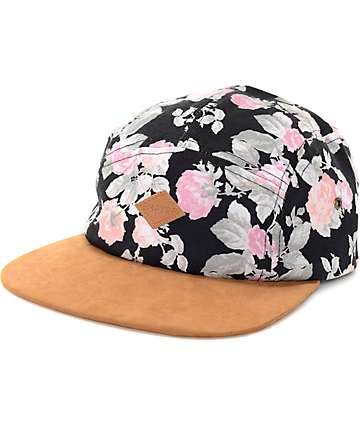 Empyre Orla Black Floral 5 Panel Hat