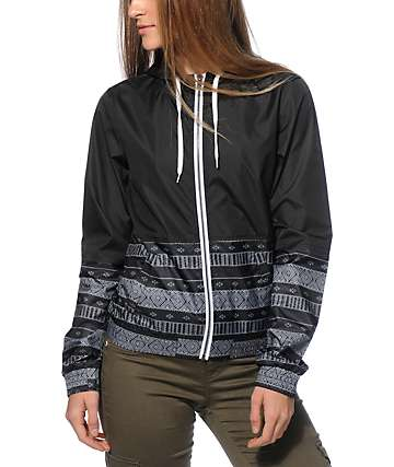 Empyre Orla Black Tribal Stripe Windbreaker Jacket