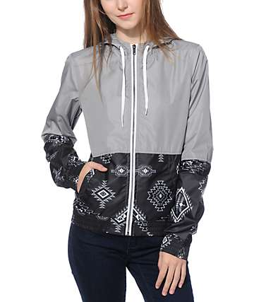Empyre Orla Grey & Black Tribal Block Windbreaker Jacket