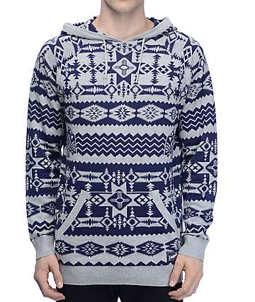 Empyre Outlaw Navy & Grey Print Hooded Sweater