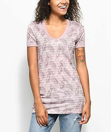 Empyre Palm Mauve Stripe V-Neck T-Shirt
