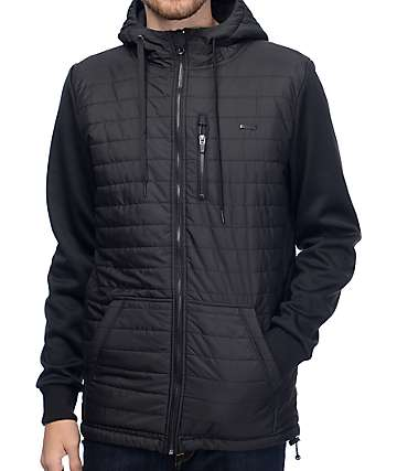 Empyre Peak Quilted Full Zip Black Tech Fleece Jacket