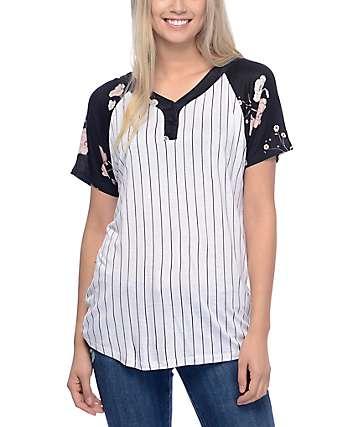 Empyre Pedro Black Floral Baseball T-Shirt