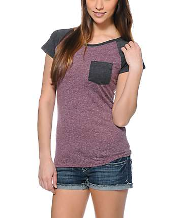 Empyre Petra Blackberry & Charcoal Pocket T-Shirt
