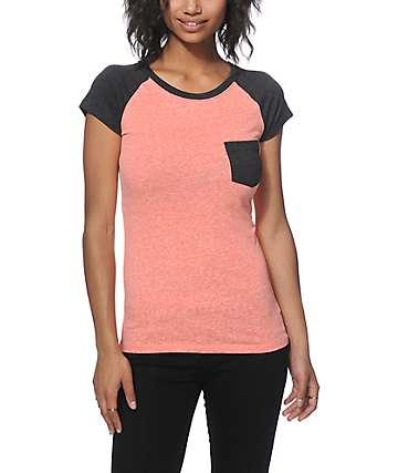 Empyre Petra Bright Coral & Charcoal T-Shirt