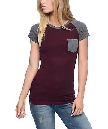 Empyre Petra Red Striped Raglan Pocket T-Shirt