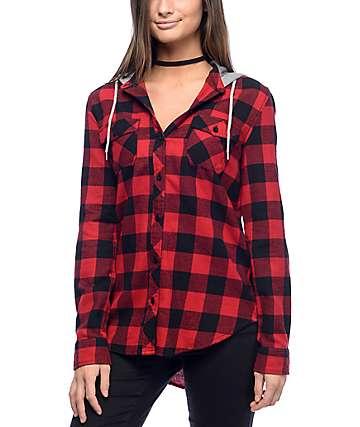 Empyre Pheobe camisa de franela con capucha en rojo y negro