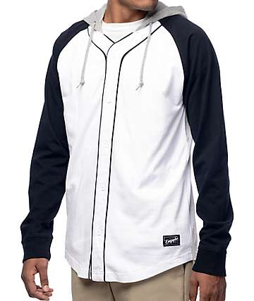 Empyre Pitch Black, White & Grey Long Sleeve Baseball Jersey