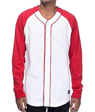 Empyre Pitch camiseta béisbol de manga larga en rojo y blanco