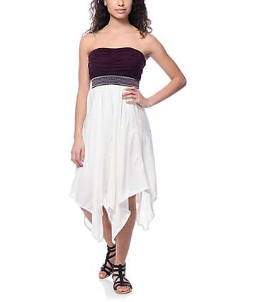 Empyre Portia Jacquard Tape White & Burgundy Strapless Dress