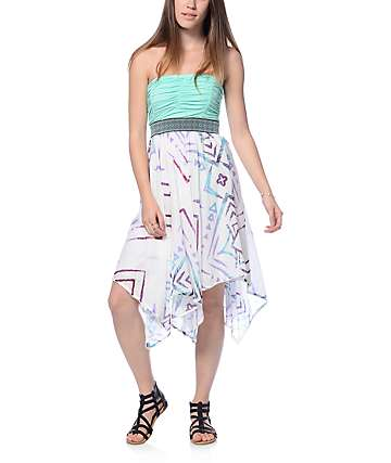 Empyre Portia Mint & Tribal Bottom Tube Dress