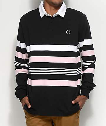 Empyre Preppin camiseta polo de manga larga en negro, rosa y blanco