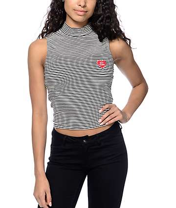 Empyre Rachel Striped Black & White Crop Tank Top