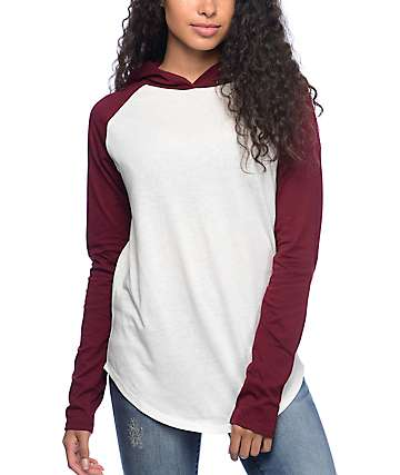 Empyre Rails Burgundy & Cream Hooded Long Sleeve Shirt