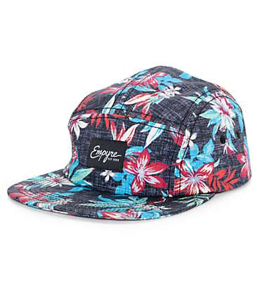 Empyre Rainforest Floral Black 5 Panel Hat