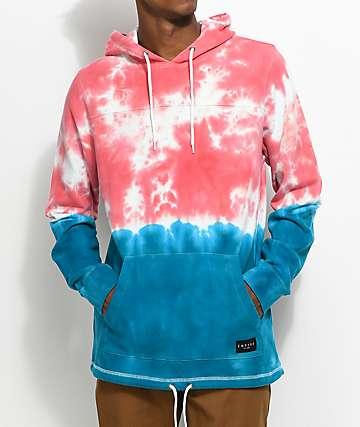 Empyre Reef sudadera con capucha y efecto tie dye en rojo y azul