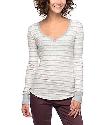 Empyre Rhonda camiseta de manga larga rayada en gris y blanco