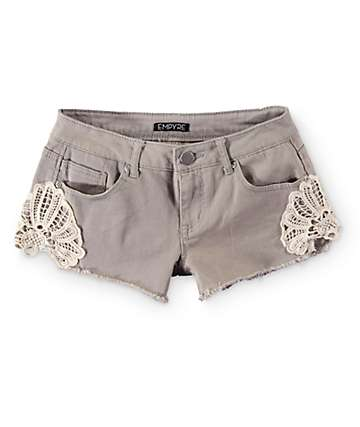 Empyre Rita Crochet Side Khaki Shorts