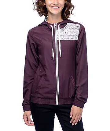 Empyre Roni Burgundy Fair Isle Windbreaker Jacket