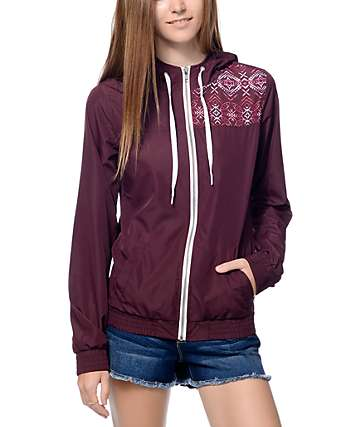 Empyre Roni Burgundy Multi Tribal Black Windbreaker