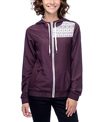 Empyre Roni Fair Isle chaqueta cortavientos en color borgoño