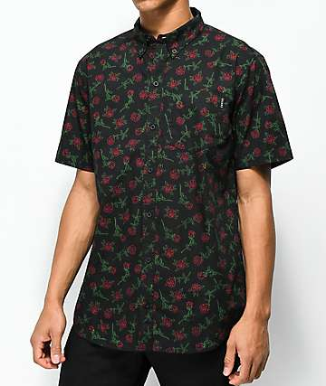 Empyre Rose Black Short Sleeve Button Up Shirt