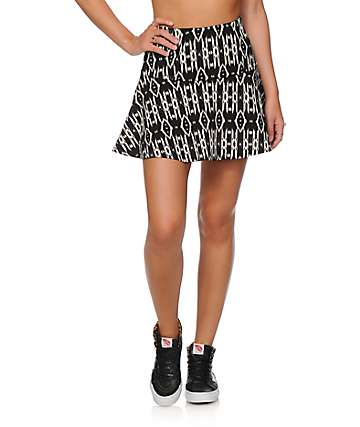 Empyre Rosella Black Tribal Fit & Flare Skirt