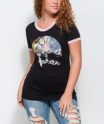 Empyre Rudd Cactus camiseta ringer en negro y color malva
