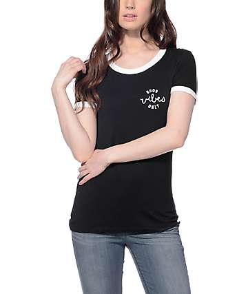 Empyre Rudd Good Vibes Only camiseta de aros en color negro