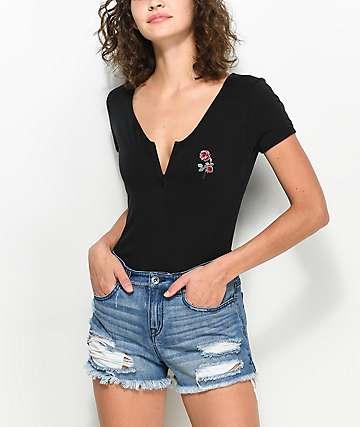 Empyre Sacha Rose camiseta negra con cremallera