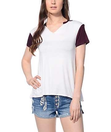 Empyre Sadie Burgundy & White T-Shirt