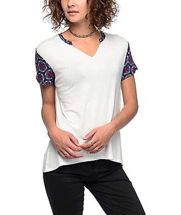 Empyre Sadie Printed Sleeve White T-Shirt
